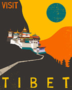 Modern Buddhist Art Art - Tibet Travel Poster by Jazzberry Blue