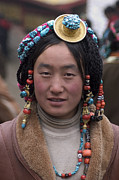 Gold Earrings Posters - Tibetan Beauty - Kham Poster by Craig Lovell