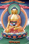Buddha Photo Posters - Tibetan buddhist deity wall sculpture Poster by Tim Gainey