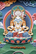 Deity Posters - Tibetan buddhist temple deity sculpture Poster by Tim Gainey
