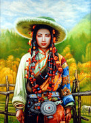 Blue And White Porcelain Posters - Tibetan girl Poster by Weber Wilhelm
