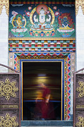 Tibetan Buddhism Framed Prints - Tibetan Monk and the Prayer Wheel Framed Print by Tim Gainey