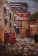 Spiritual Paintings - Tibetan monks by Mila Kronik