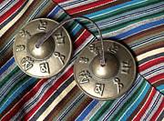 Tibetan Prayer Bells On Woven Scarf Print by Anna Lisa Yoder