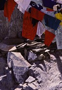 Flag Stones Posters - Tibetan Prayer Flags Behind the Potala Palace Poster by Anna Lisa Yoder