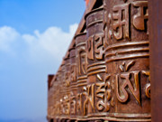 Tibetan Buddhism Metal Prints - Tibetan Prayer Wheels Metal Print by Nila Newsom