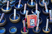 Bowls Framed Prints - Tibetan singing bowls at Anjuna Market in Goa India Framed Print by Robert Preston