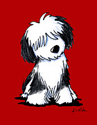 Kim Niles Prints - Tibetan Terrier On Red Print by Kim Niles