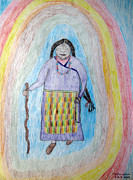 Inspire Drawings Metal Prints - Tibetan woman Metal Print by Elizabeth Stedman