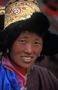 Ancient Earrings Posters - Tibetan Woman in Fur Hat - Tibet Poster by Craig Lovell