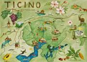 Map Of The World Painting Posters - Ticino Poster by Virginia Ann Hemingson