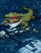 Humor Painting Prints - Tick-Tock Crocodile Print by Isabella Kung
