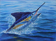 Panama City Beach Painting Prints - Ticked Off Blue Marlin Print by Jay Prentice