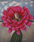 Cactus Paintings - Tickled Pink by Gayle Faucette Wisbon
