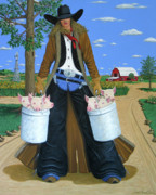 Contemporary Cowgirl Paintings - Tickled Pink by Lance Headlee