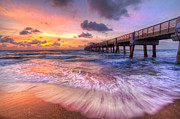 Tropical Sunset Prints - Tidal Lace Print by Debra and Dave Vanderlaan