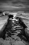 La Jolla Framed Prints - Tidepool Falls Black and White Framed Print by Peter Tellone