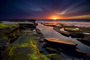 Rocks Prints - Tidepool Sunsets Print by Peter Tellone
