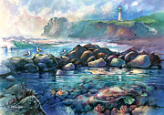 Yaquina Head Light Prints - Tidepools at Yaquina Head Light Print by Michael David Sorensen