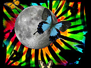 Full Moon Digital Art Originals - Tie Dyed Butterfly Moon by Jessica Grandall