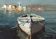 Sail Paintings - Tied Boat By The City by Branko Dimitrijevic