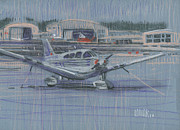 Plane Drawings Prints - Tied Down Print by Donald Maier