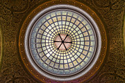 Glass Photo Originals - Tiffany Dome in Chicago Cultural Center by Steve Gadomski