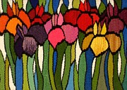 Floral Tapestries - Textiles - Tiffany Irises by Jean Baardsen