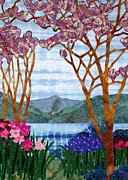 Landscape Tapestries - Textiles Framed Prints - Tiffany Landscape Framed Print by Jean Baardsen