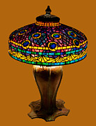 Art Nouveau Glass Art - Tiffany Peacock Lamp by David Kennedy