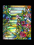 Landscape Art - Tiffany Peony Stained Glass by Donna Walsh