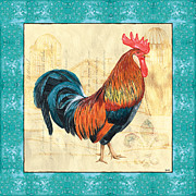 Aqua Blue Framed Prints - Tiffany Rooster 1 Framed Print by Debbie DeWitt