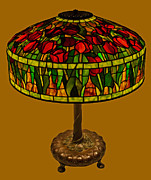 David Kennedy Glass Art - Tiffany Tulip Lamp by David Kennedy