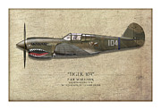E Black Metal Prints - Tiger 104 P-40 Warhawk - Map Background Metal Print by Craig Tinder