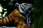 Tiger Fractal Framed Prints - Tiger 3513 - F Framed Print by James Ahn