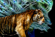 Tiger Fractal Framed Prints - Tiger 3921 - F Framed Print by James Ahn