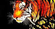 Signed Drawings Prints - Tiger Abstract Ink Painting Print by Desire Doecette