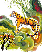 Oriental Tiger Posters - Tiger and wild blossoms Poster by Gem J Shimada
