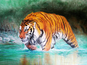 Awesome Pastels Acrylic Prints - Tiger Acrylic Print by Andrei Stefan
