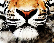 Tiger Digital Art Framed Prints - Tiger Art - Burning Bright Framed Print by Sharon Cummings