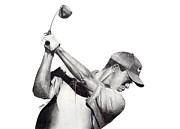 Nike Drawings - Tiger Backswing by Devin Millington