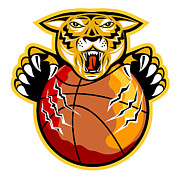 Tiger Illustration Framed Prints - Tiger Basketball Ball Claws Framed Print by Aloysius Patrimonio