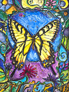 Sweat Mixed Media Prints - Tiger Butterfly Children of the Earth Print by Patricia Allingham Carlson