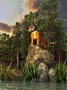 The Tiger Digital Art Metal Prints - Tiger by the Lake Metal Print by Daniel Eskridge