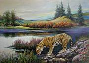Geography Painting Prints - Tiger by the river Print by Svitozar Nenyuk