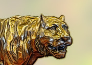 Cast Sculpture Posters - Tiger Cat Poster by Linda Phelps