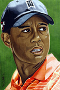 Golf Drawings Metal Prints - Tiger Metal Print by Cory Still