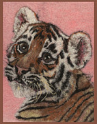 Wet Tapestries - Textiles Framed Prints - Tiger Cub Framed Print by Dena Kotka