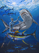 White Shark Painting Prints - Tiger Encounter Print by Carey Chen