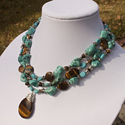 Silver Turquoise Jewelry Originals - Tiger Eye and Turquoise Triple Strand Necklace 3640 by Teresa Mucha